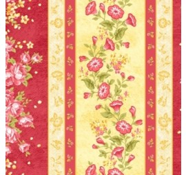 BENARTEX - Forever Love - Floral Border Ruby & Butter