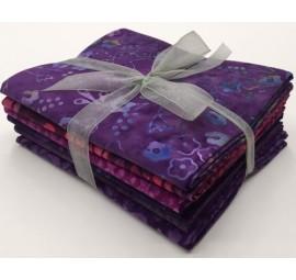 Six Batik Fat Quarter Bundle - Purple