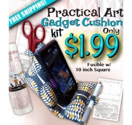 Practical Art Gadget Cushion Kit - printed fusible/10 inch square
