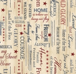 BENARTEX - Home Of The Free - Patriotic Words - Beige