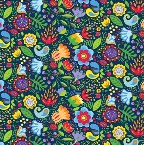 BENARTEX - Awaken The Day - Folky Floral Blue #2935