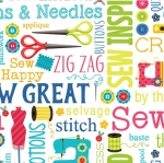 BENARTEX - Sew Excited - Sew Wordy - White