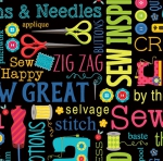BENARTEX - Sew Excited - Sew Wordy - Black
