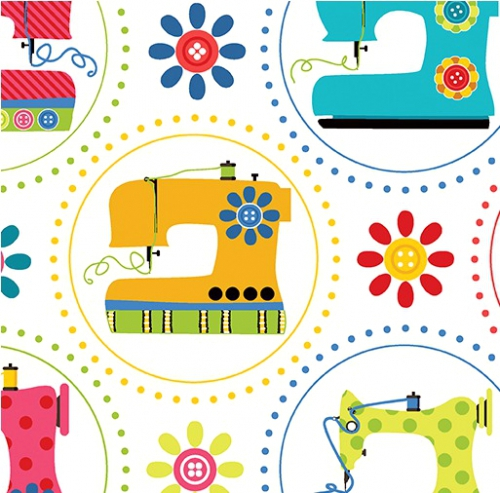 BENARTEX - Sew Excited - Sewing Machine Fun White