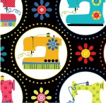 BENARTEX - Sew Excited - Sewing Machine Fun Black