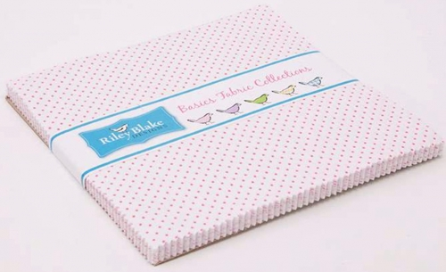 Riley Blake - Swiss Dot On White Color Hotpink 10 Inch Stacker 42pcs
