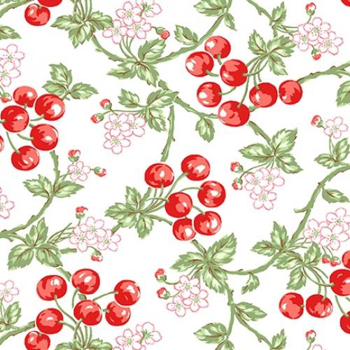 BENARTEX - Garden Party By Eleanor Burns - Wild Cherries - White