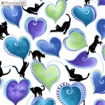 BENARTEX - Cat-I-Tude Singing The Blues - Pearlescent - Hearts And Cats - White/Multi