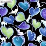 BENARTEX - Cat-I-Tude Singing The Blues - Pearlescent - Hearts And Cats - Black