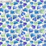 BENARTEX - Cat-I-Tude Singing The Blues - Pearlescent - Swirling Hearts - White/Multi