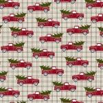 BENARTEX - A Jingle Bell Christmas - Painted Sky Studio - Red Truck Holiday Steel - Steel