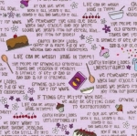 FABRI-QUILT, INC - Church Kitchen Ladies - Words Lavender - #2194-