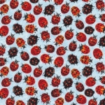 FABRI-QUILT, INC - Frolicking Fields - Lady Bugs - Light Blue