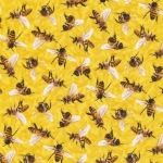 FABRI-QUILT, INC - Frolicking Fields - Bees - Yellow