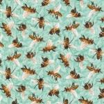 FABRI-QUILT, INC - Frolicking Fields - Bees - Turquoise