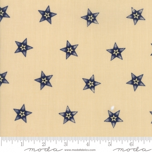 MODA FABRICS - Stars & Stripes Gathering - Beige/Navy Star