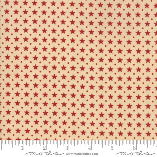 MODA FABRICS - Stars & Stripes Gathering - Beige/Red Stars