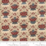 MODA FABRICS - Vive La France - Floral Scallop Rouge/Woad On Oyster