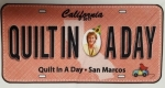 License Plate: Quilt in a Day San Marcos