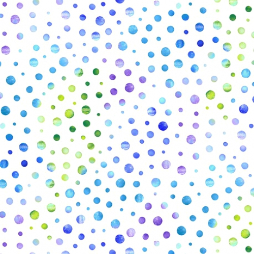 QUILTING TREASURES - Mimosa - Dots - White/Blue