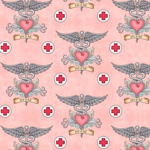 QUILTING TREASURES - What The Dr Ordered - Nurse Tattoo - Pink