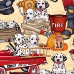 QUILTING TREASURES - 5 Alarm - Dalmations & Equipment - Cream