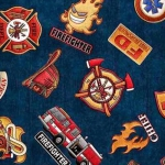 QUILTING TREASURES - 5 Alarm - Shields - Navy