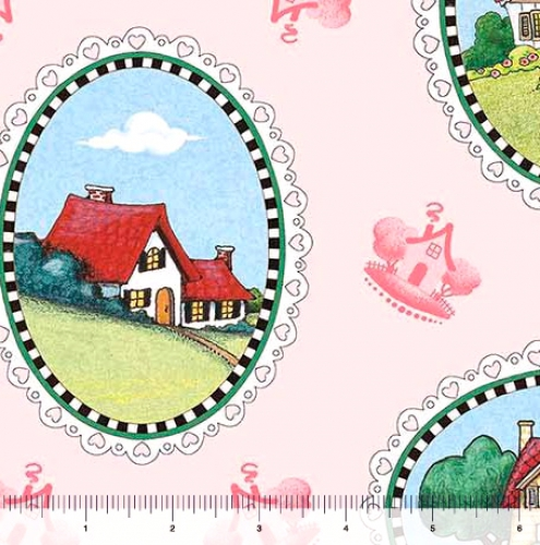 QUILTING TREASURES - Marys Journey - House Vignettes - Pale Pink - FB7989-