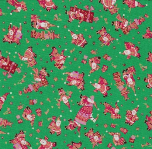 Skinny - SK4528- 3/4 yds - Holiday Minis - Metallic - Santas - Green