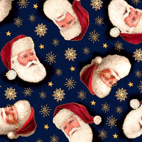 QUILTING TREASURES - Christmas Eve - Metallic - Navy