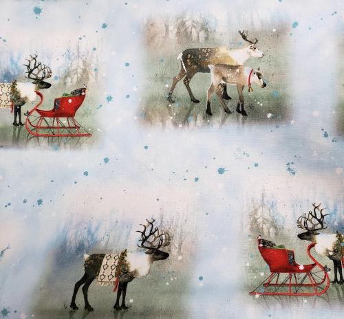 QUILTING TREASURES - Lake Caribou - Nordic Deer Vignettes - Blue - FB8112-