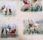 QUILTING TREASURES - Lake Caribou - Nordic Deer Vignettes - Tan - FB8113-
