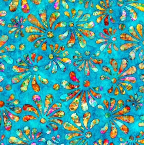 QUILTING TREASURES - Radiance - Stylized Floral Cyan