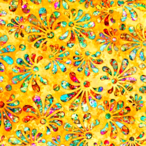 QUILTING TREASURES - Radiance - Stylized Floral Yellow