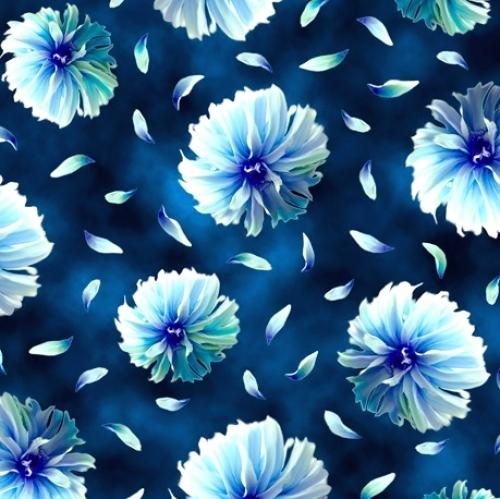 QUILTING TREASURES - Kenzie - Tossed Blooms Indigo