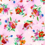 QUILTING TREASURES - Full Bloom - Spaced Floral - Pink
