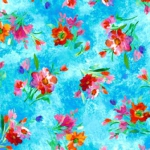 QUILTING TREASURES - Full Bloom - Spaced Floral - Turquoise