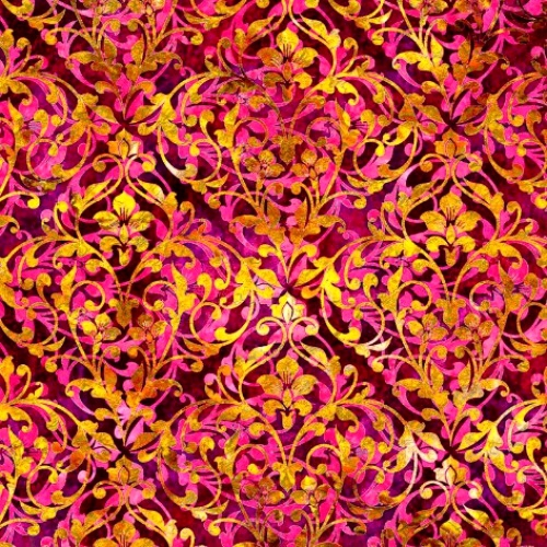 QUILTING TREASURES - Pandora - Damask - Azalea - FB8130-