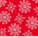 QUILTING TREASURES - Pretty Poinsettias - Snowflake Toss - Red White - FB8097-