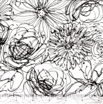 QUILTING TREASURES - Blanc Et Noir - Scribble Floral - White