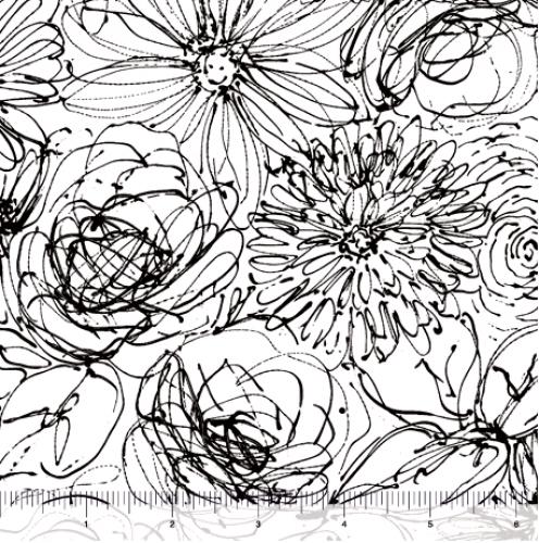 QUILTING TREASURES - Blanc Et Noir - Scribble Floral - White
