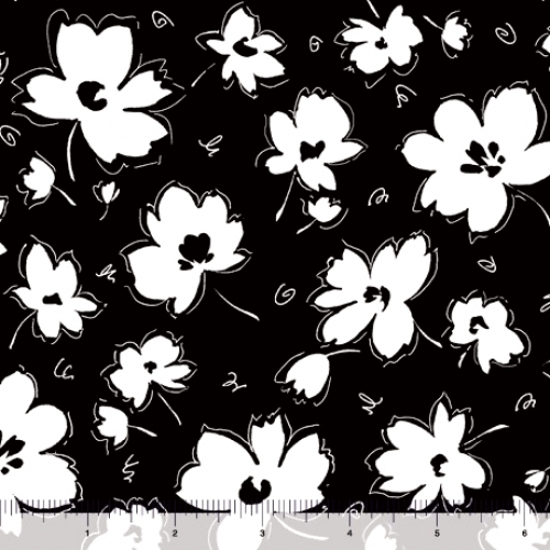QUILTING TREASURES - Blanc Et Noir - Spaced Floral - Black
