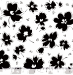 QUILTING TREASURES - Blanc Et Noir - Spaced Floral - White