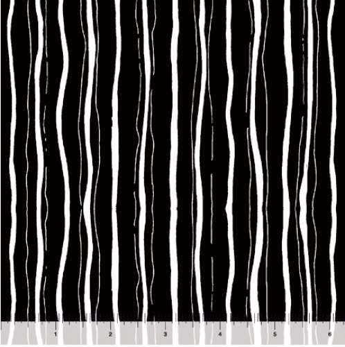 QUILTING TREASURES - Blanc Et Noir - Stripe - Black