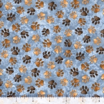 QUILTING TREASURES - Loyal Loveable Labs - Paw Prints - Blue