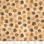 QUILTING TREASURES - Loyal Loveable Labs - Paw Prints - Tan