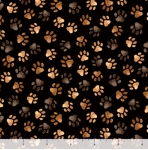 QUILTING TREASURES - Loyal Loveable Labs - Paw Prints - Black