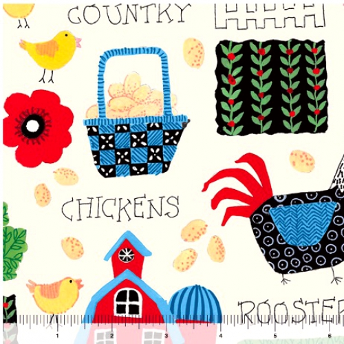 QUILTING TREASURES - Count Your Chickens - Barnyard Allover