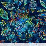 QUILTING TREASURES - Kashmir - Large Floral Navy