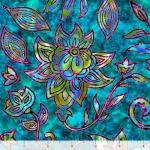QUILTING TREASURES - Kashmir - Large Floral Turquoise